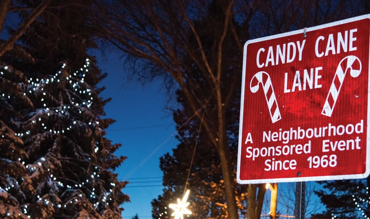 Enjoy Candy Cane Lane With The Kids via Raising Edmonton