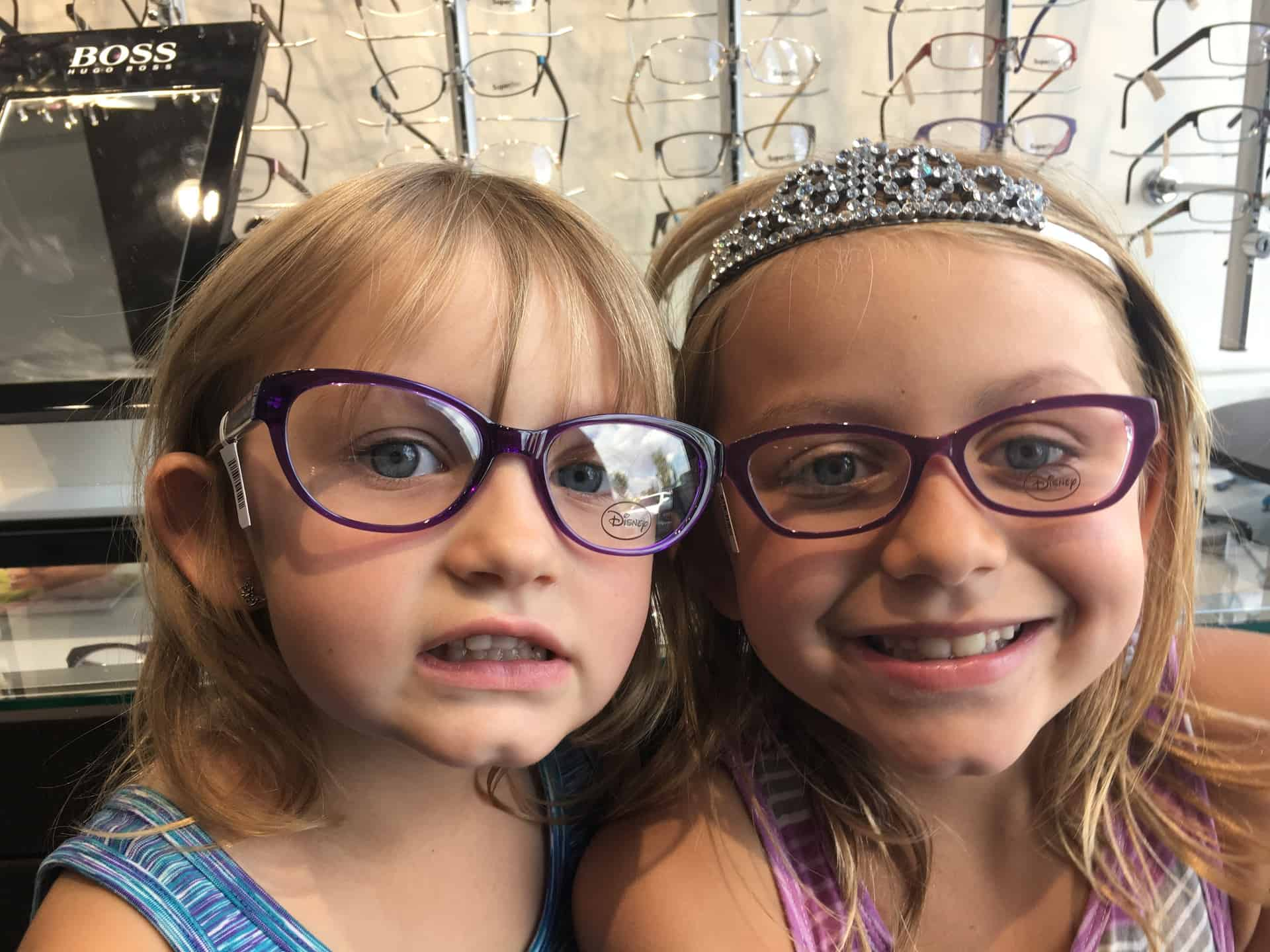 Trying on glasses at Beyond Vision Edmonton