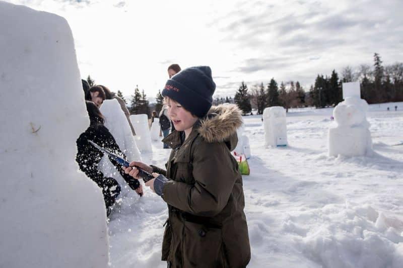 Family Snow Sculpture - Silver Skate Festival