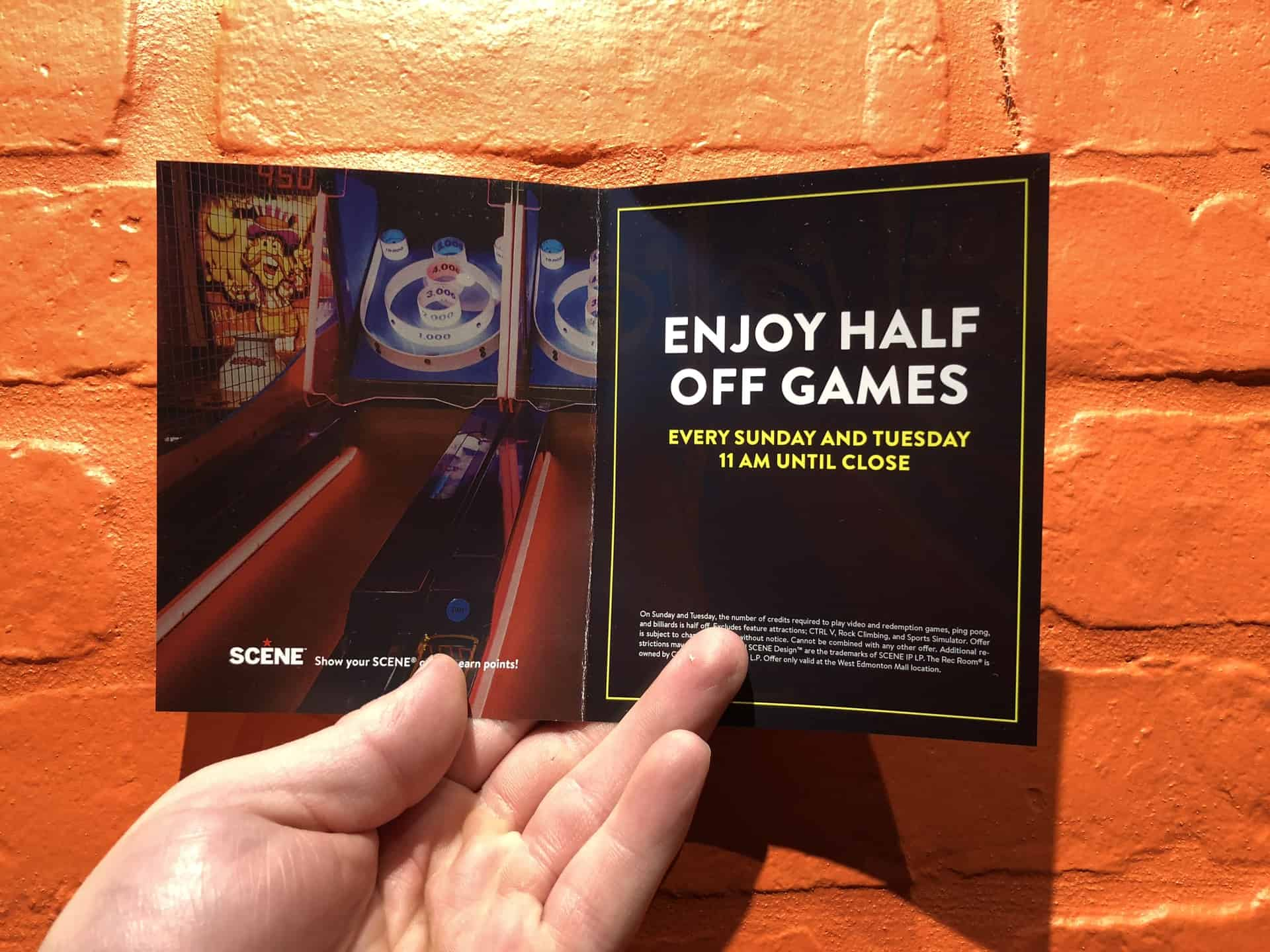 Get Half off of Games at the Rec Room West Edmonton Mall on Sunday and Tuesday