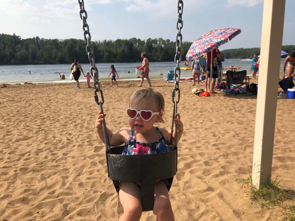 Playground, Sandy Beach and Jump off Dock at Long Island Lake Beach