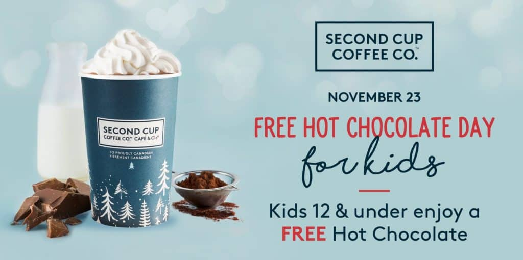 Kids Get FREE Hot Chocolate at Second Cup on November 23